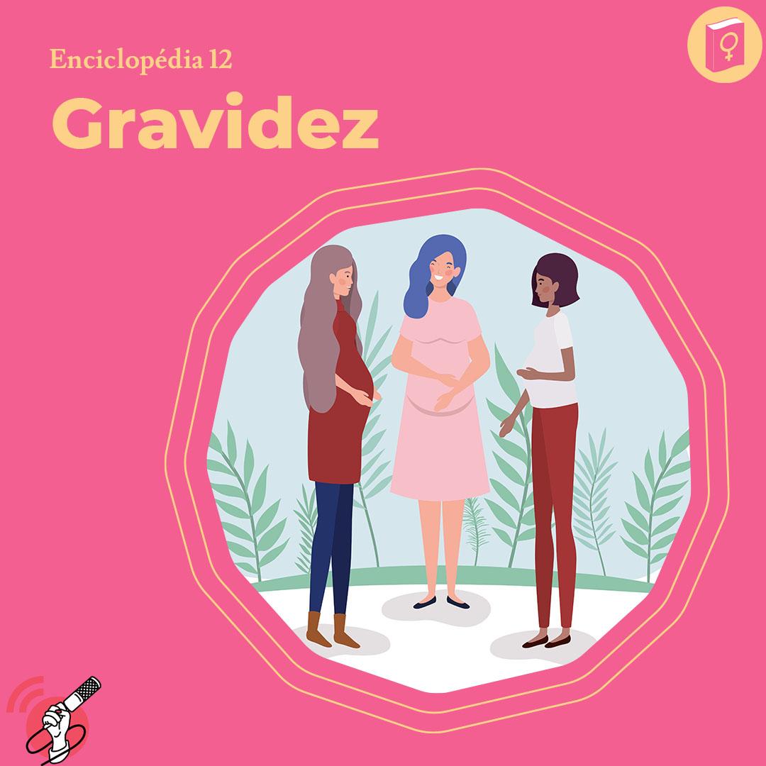 Ilustração de três mulheres grávidas