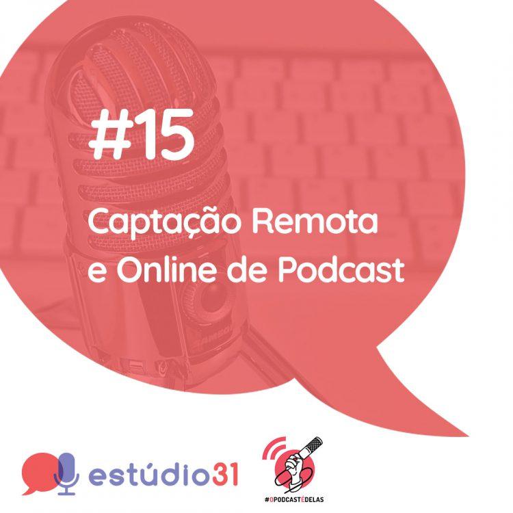 """Um quadrado branco, com um simbolo de """"balão de fala"""" vermelho, com imagem de um microfone de mesa e teclado de computador como marca d´água. Em primeiro plano o titulo do episódio. Na base o simbolo do podcast e ao lado a logo do #OPodcastÉDelas"""