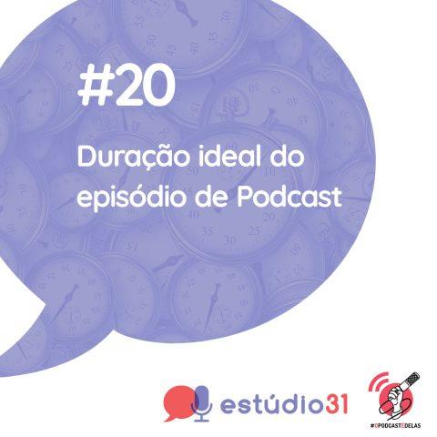 """Um quadrado branco, com um simbolo de """"balão de fala"""" azul, com imagem de vários relógios de bolso como marca d´água. Em primeiro plano o titulo do episódio. Na base o simbolo do podcast e ao lado a logo do #OPodcastÉDelas"""